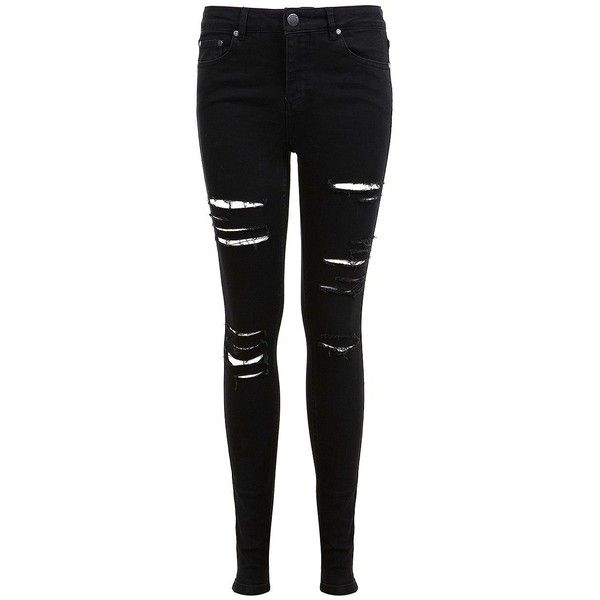 Miss Selfridge Lizzie Shredded Jeans ($80) ❤ liked on Polyvore featuring jeans, pants, bottoms, black, super skinny jeans, distressed skinny jeans, destructed skinny jeans, destroyed skinny jeans and ripped jeans