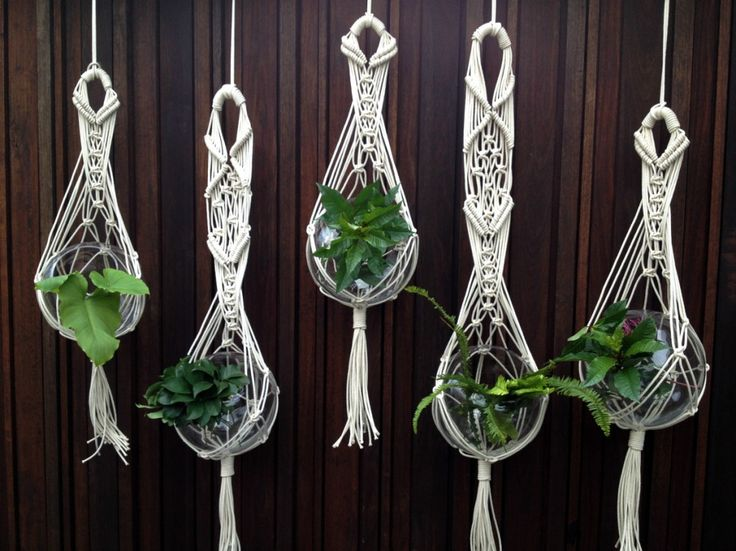 could totally make these mini macrame plant hangers with out of twine and little glass bowls and sell them on Facebook or at markets with succulent cuttings