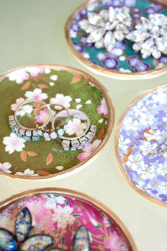 DIY Decoupage Clay Jewelry Dishes | Sarah Johnson
