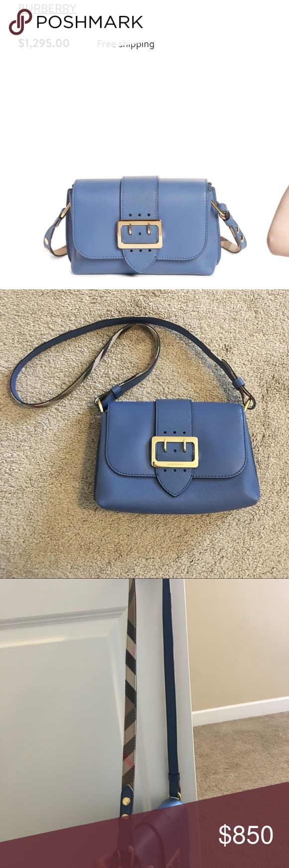 New Burberry small buckle leather crossbody bag 100% authentic and brand new! Color is slate blue. The style is small buckle leather crossbody bag. You can see additional stock pictures on Nordstrom! Retails for $1295!   Echoing a design element drawn from Burberry's famed trench, a gleaming buckle highlights a chic, compact crossbody that beautifully combines smooth and textured leathers. Magnetic snap-flap closure Adjustable crossbody strap Interior zip and wall pockets Burberry Bags…