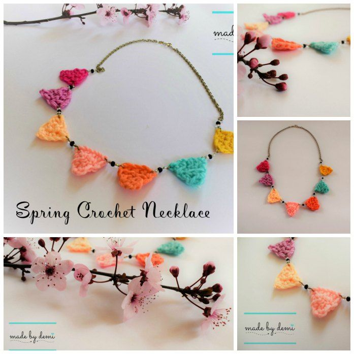 SPRING CROCHET NECKLACE | bunting necklace | learn how to crochet a trinagle | made by demi