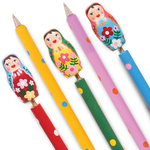 Russian doll pens by tobar ($29) ❤ liked on Polyvore featuring home, home decor, office accessories, colored pens, multi color pen, multicolor pen, multi colored pens and multiple color pen