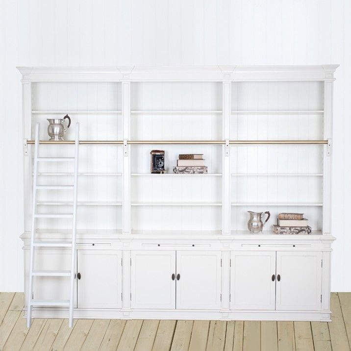 Obernai 3 Section White Library with Ladder