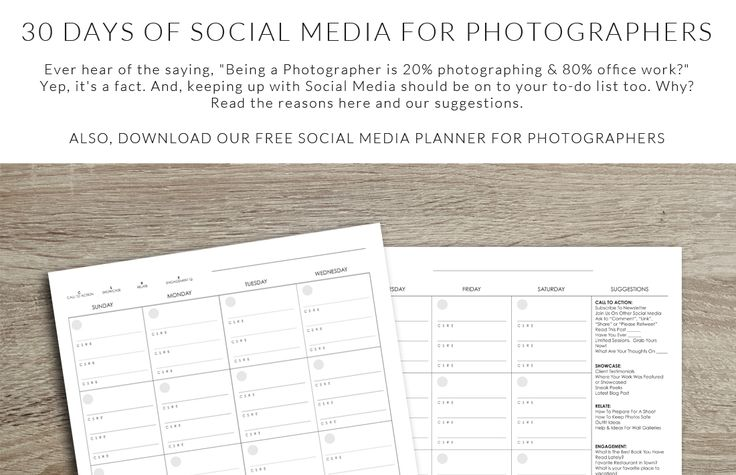 "30 Days of Social Media for Photographers Someone once said, ""Being a Photographer is 20% photographing & 80% office work."" Make the 80% easier and take up less of your time.http://www.colorvaleactions.com/blog/30-days-social-media-photographers/"