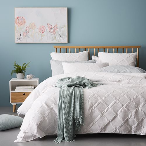 Hex Quilt Cover Set White