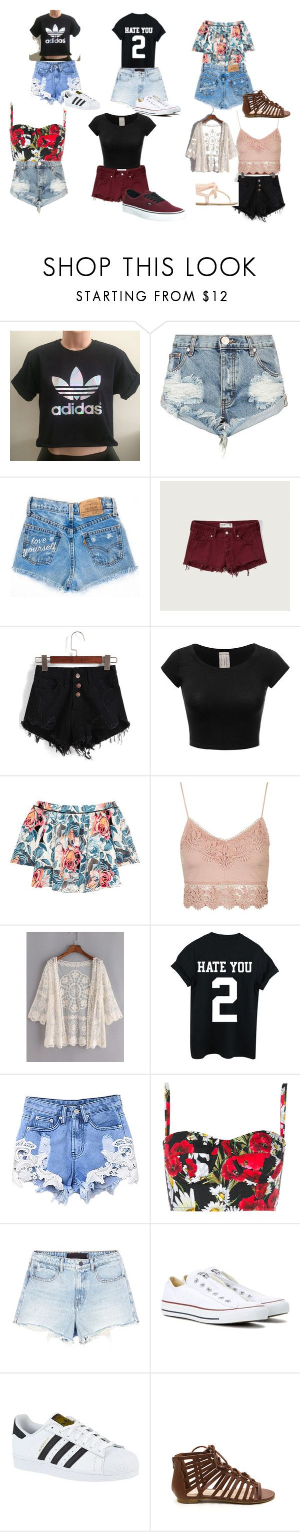 """How to wear shorts"" by jade-love-02-8 on Polyvore featuring adidas, One Teaspoon, Abercrombie & Fitch, Elizabeth and James, Topshop, Dolce&Gabbana, Alexander Wang, Converse and Vans"