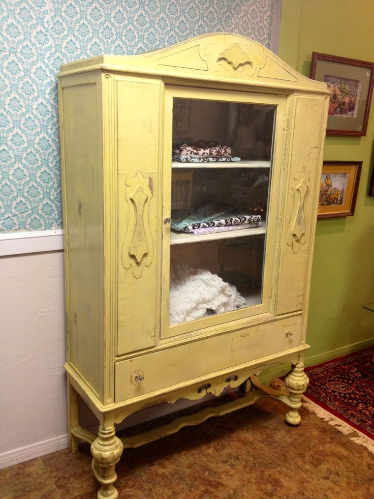 Painted Antique Cabinet Furniture Redo Colorful