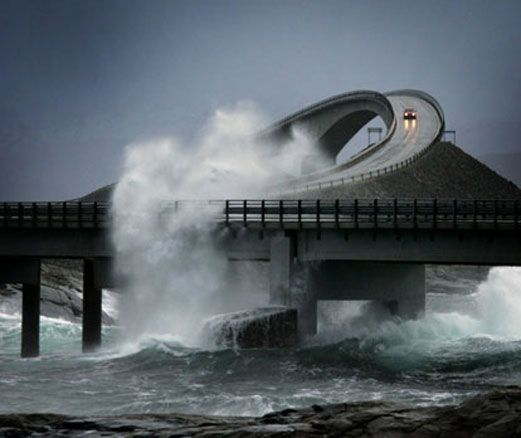 Stormy weather on one of the most spectacular stretches of road in the World- Atlantic Road, Norway.