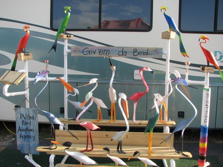Pvc craft birds pvc seabirds made from 1 piece of pvc for Pvc pipe craft projects