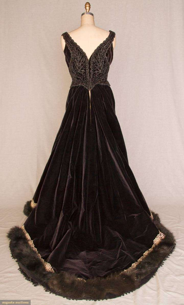 Beaded velvet ball gown paris 1890s history for 19th century wedding dresses