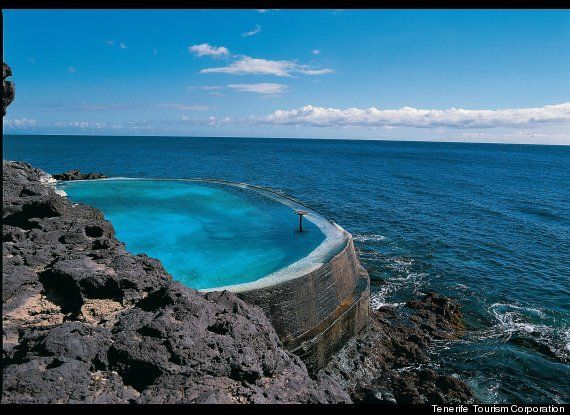 Natural rock pools in Garachico, north #Tenerife. Partly made of lava that solidified in the sea during a volcanic eruption.