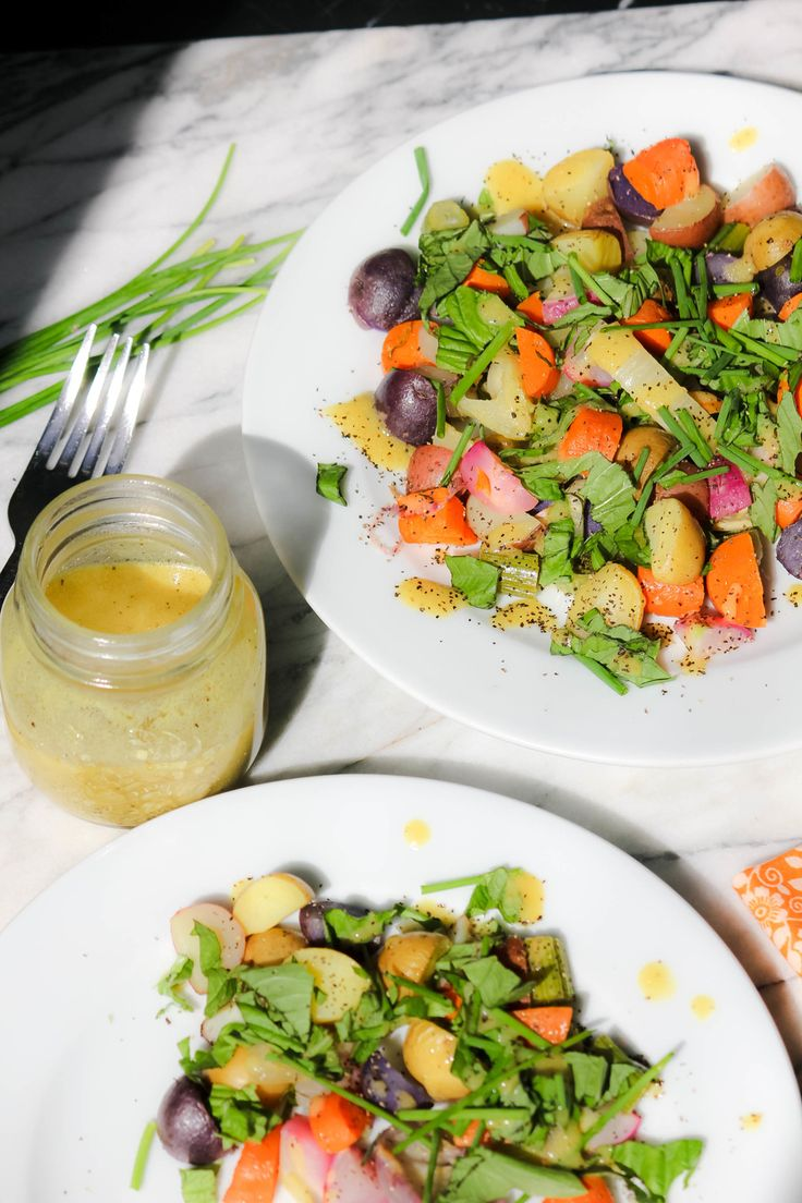 Eat Your Veggies! This Warm Vegetable Salad Recipe with Dijon Dressing Will Make You Want to =) #CleanCuisine