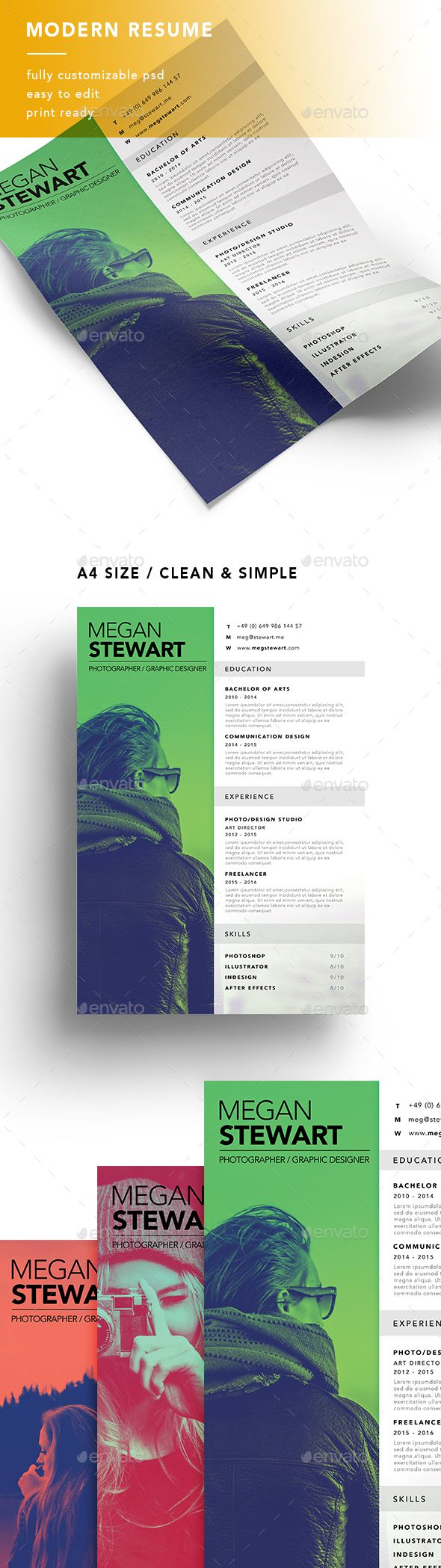 A4 Modern Resume #resume qualifications #resume skills #resume template • Available here → http://graphicriver.net/item/a4-modern-resume/15524659?ref=pxcr