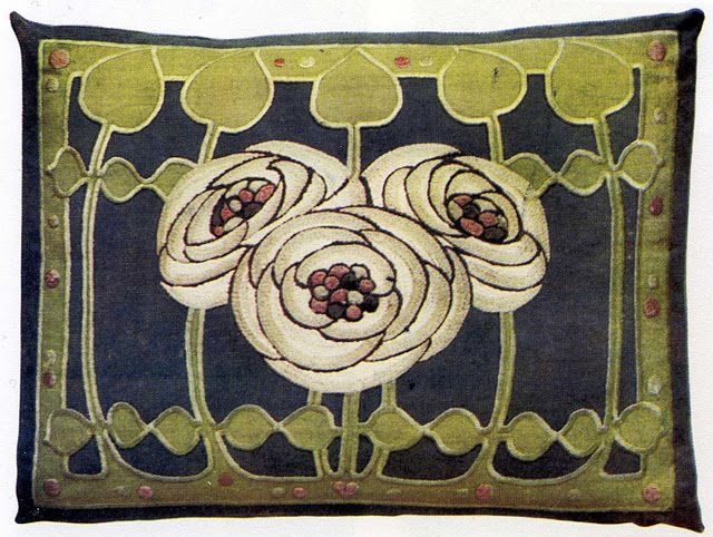 Ann Macbeth. Embroidered panel on pillow, c1906.
