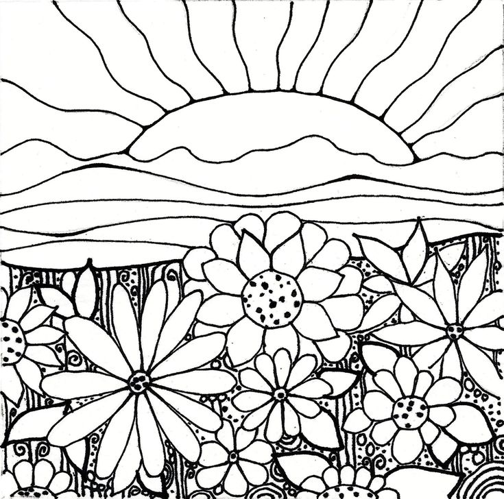 download printableadult coloring page digital hand drawn papers by me printables sun sunset flowers hills - Coloring Papers
