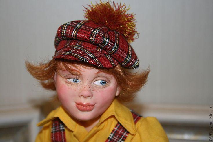 Купить Рыжий - интерьерная кукла, авторская кукла, мальчик на велосипеде, ребенок на велосипеде, интеръерный велосипед