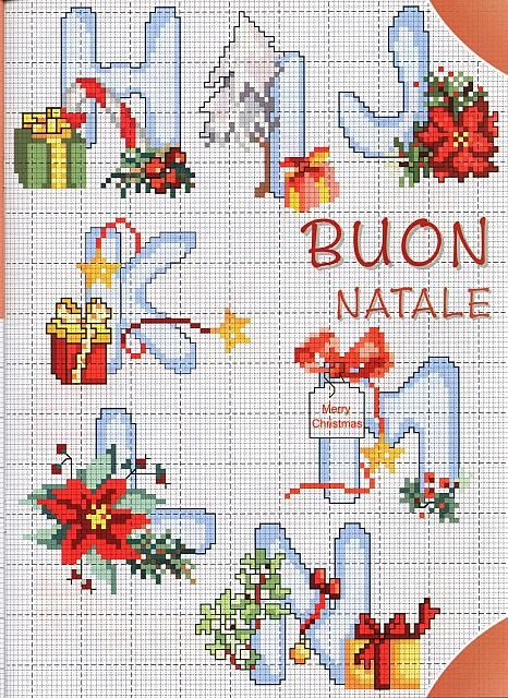 punto de cruz: Abecedario letras Navidad. imagenes para facebook