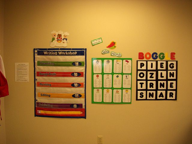 LOVE the boggle game on the wall, a great time filler for students