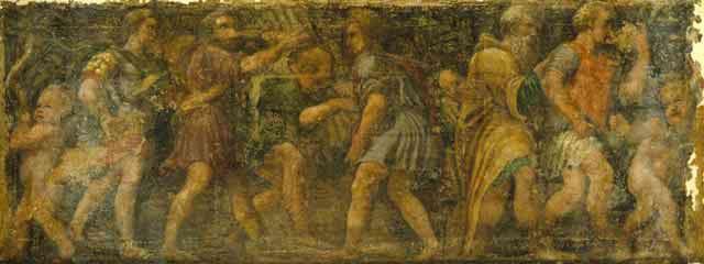 """Giovanni Giarola / """"Corteo di offerenti e putti"""" / Affresco trasportato su tela, cm. 155 x 396 / Piano 1 - Galleria Fontanesi"""
