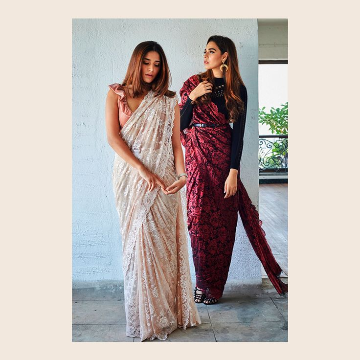 House Of MISU in Intrika Lace sarees. From dreamy pastels to bright colors, explore the lace sarees from Intrika