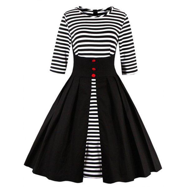 High Waist Striped Button Embellished Dress