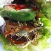 The new Sun Burger from Christopher's Kitchen.  This delicious nutrient dense sun burger is off the charts ridiculously satisfying! Red leaf lettuce, sun burger (packed with plant based proteins), sliced tomato, onion, zucchini bacon, avocado, alfalfa sprouts, red pepper, jalapenos, cashew cheese, ground mustard, ketchup, topped with our wildflower honey mustard dressing. Forget about the best burger you think you have ever had.