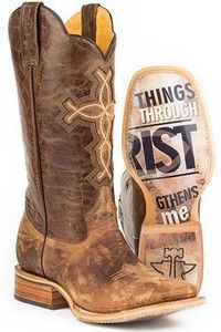 """Tin Haul® Men's Ichthys Aroundus Phillipians 4:13 Boots. The obvious sole shows Phillipians 4:13 """"I can do all things through Christ who strengthens me. """""""