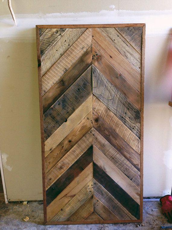 JENN Reclaimed Barn wood Chevron herringbone COFFEE entry