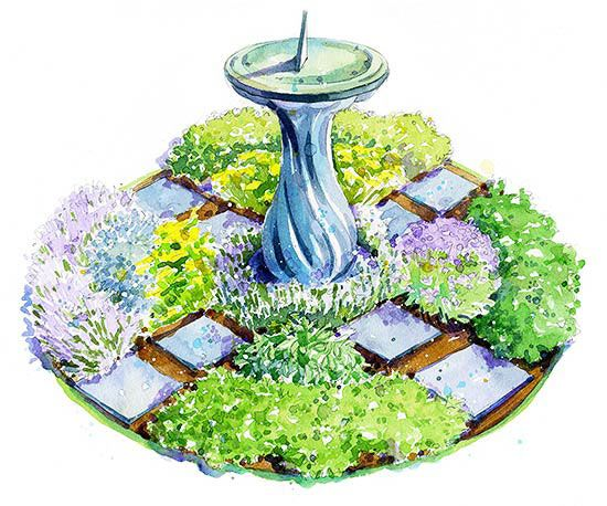 Garden Plans - bird bath surrounded by bee and butterfly attracting flowers and herbs