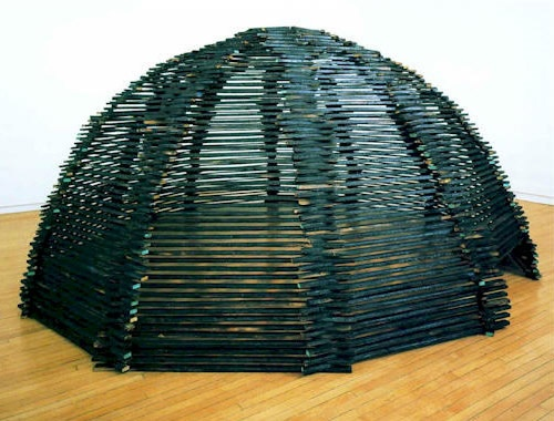 Craig Pleasants has drawn his ideas for sculptural shelter, mixing architectural traditions with metaphorical materials, for the past two decades. Having cut his teeth on conceptual and environmental art, Marcel Duchamp, Alan Kaprow, Josef Beuys, Robert Smithson, and others, he originally developed concepts that merged the absurd with the conscientiously sociological. At some early point this led to the exploration of actual built environments using experimental materials. It's a subject…
