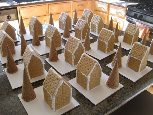 Gingerbread party. Everyone gets a homemade graham cracker house and ice cream cone tree. This looks so fun!
