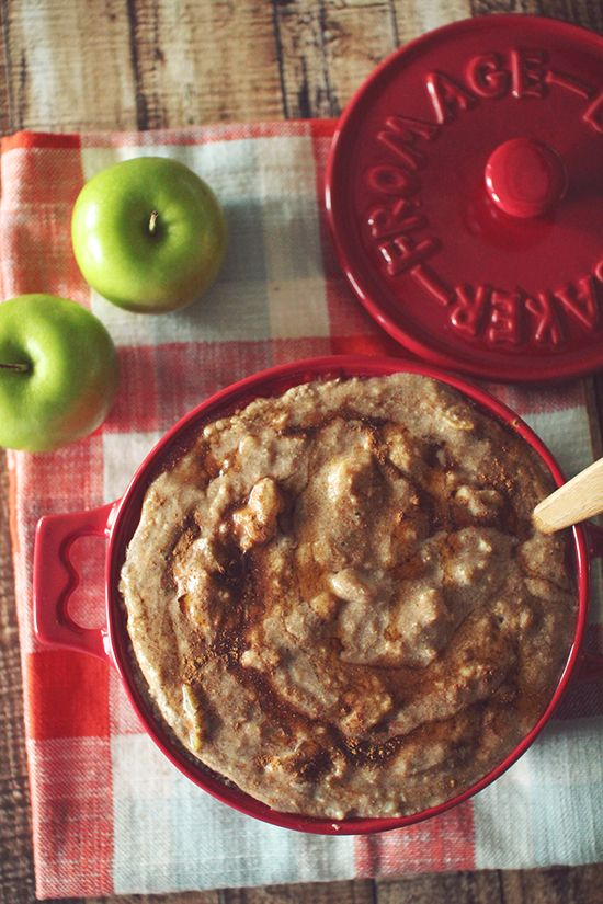 Slow Cooker Apple Pie Protein Oatmeal.. Put in the night before and wake up with delicious warm breakfast!