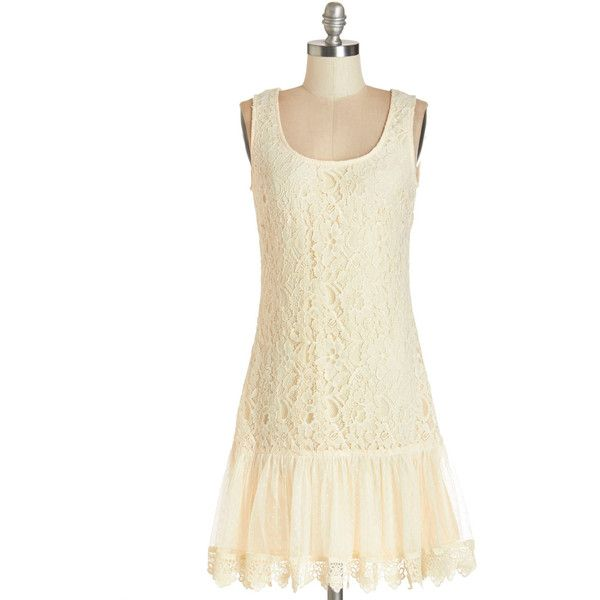 ModCloth Vintage Inspired Mid-length Sleeveless Drop Waist To a... ($52) ❤ liked on Polyvore featuring dresses, apparel, cream, fashion dress, evening dresses, beige prom dresses, holiday dresses, lace dress and special occasion dresses
