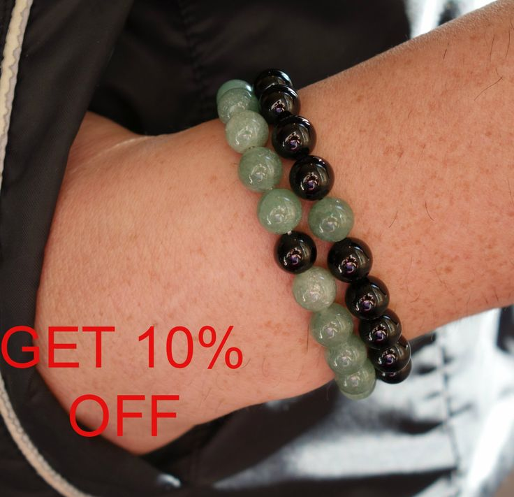 Couple Bracelets Gift Set Black Mens bracelet Black Onyx & Green marble Bracelet mens Yoga bracelet Gemstone Mens Jewelry  Minimal bracelet di SoulJewelryOliH su Etsy