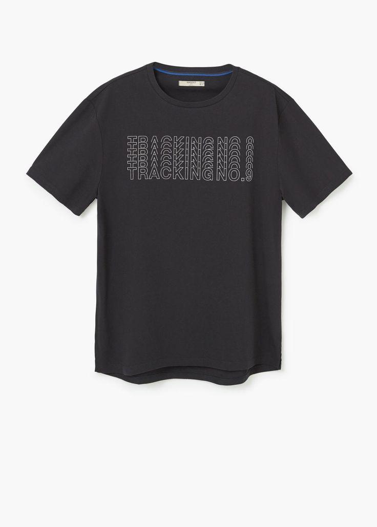 Bawełniana koszulka z napisem | MANGO MAN