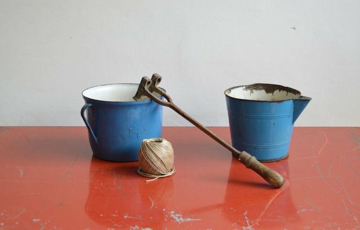 Blue enamel pots (2 pc) |artKRAFT interior&design