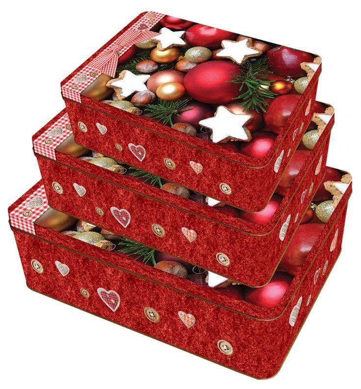 Sada 22 - 3ks Plechové krabice na cukroví - Sweet Christmas č.22/216517 SET