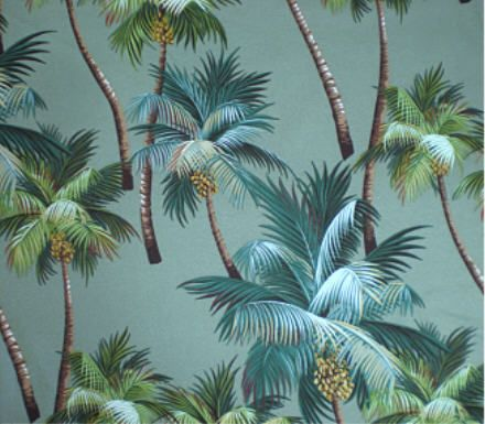 Polynesian Designs - Tropical Shower Curtain Waikiki palm Sage, $70.00 (http://www.polynesiandesigns.com/tropical-shower-curtain-waikiki-palm-sage/)