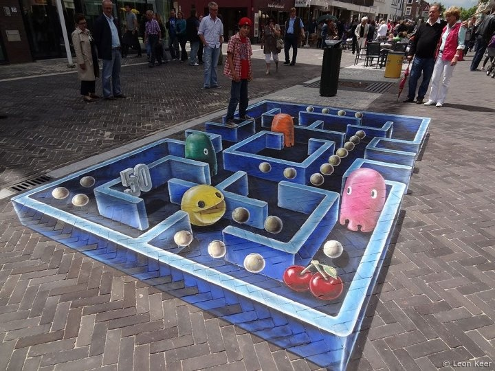 : 3D Street Art, Chalkart, Videos Games, 3D Chalk Art, 3Dstreetart, Chalk Drawings, Sidewalks Art, Pac Men, Sidewalks Chalk