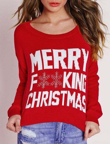 Stylish Scoop Neck Long Sleeve Snowflake and Letter Pattern Christmas Sweater For Women