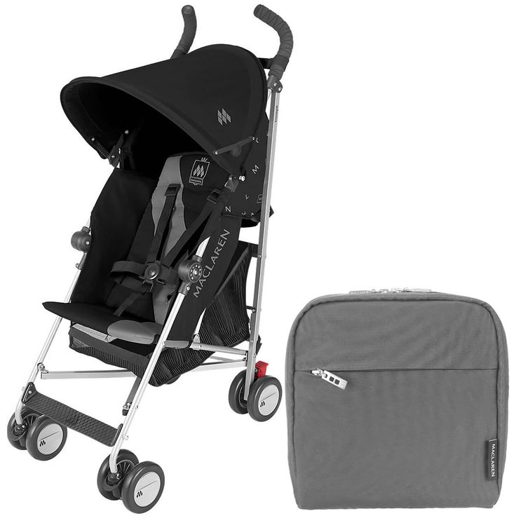 "Maclaren Triumph Stroller, Black/Charcoal , With Maclaren Pannier Bag, Charcoal. Basic Weight: 5.4kg/ 11.9lb Multiple position recline, Improved, easy to adjust recline mechanism with improved upright seat position. Removable washable seat fabric. Waterproof Hood, Improved hood tensioner with ""stay back"" feature. Round for compact fold. Easy on, easy off hood. Long for extra coverage, Lockable front swivel wheels 5 point harness,. Rain cover, carry strap and free pannier bag ($30 value)..."