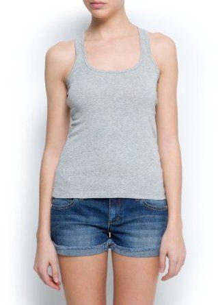 Mango Women's Cotton Tank Top, Gunmetal Grey, S Gunmetal Grey S MANGO. $9.99