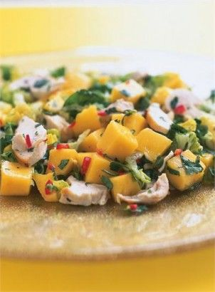 CHICKEN, MANGO AND CHILLI SALAD | Recipes | Nigella Lawson - Making this tomorrow with leftover Slow Roasted Lemon Garlic Chicken