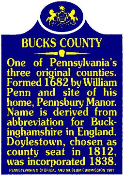 bucks county pennsylvania history | Please Scroll Down or Select a topic to view from the menu below