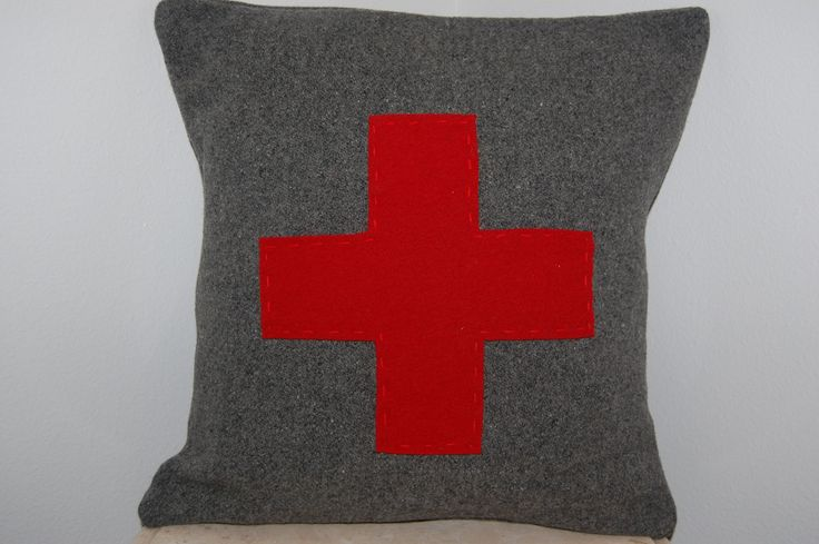 CUSTOM Woolen Colors Red Cross Square Throw Pillow First Aid Army Military Handmade Upcycled Vintage Pendleton Wool Blanket 14 x 14. $25.00, via Etsy.
