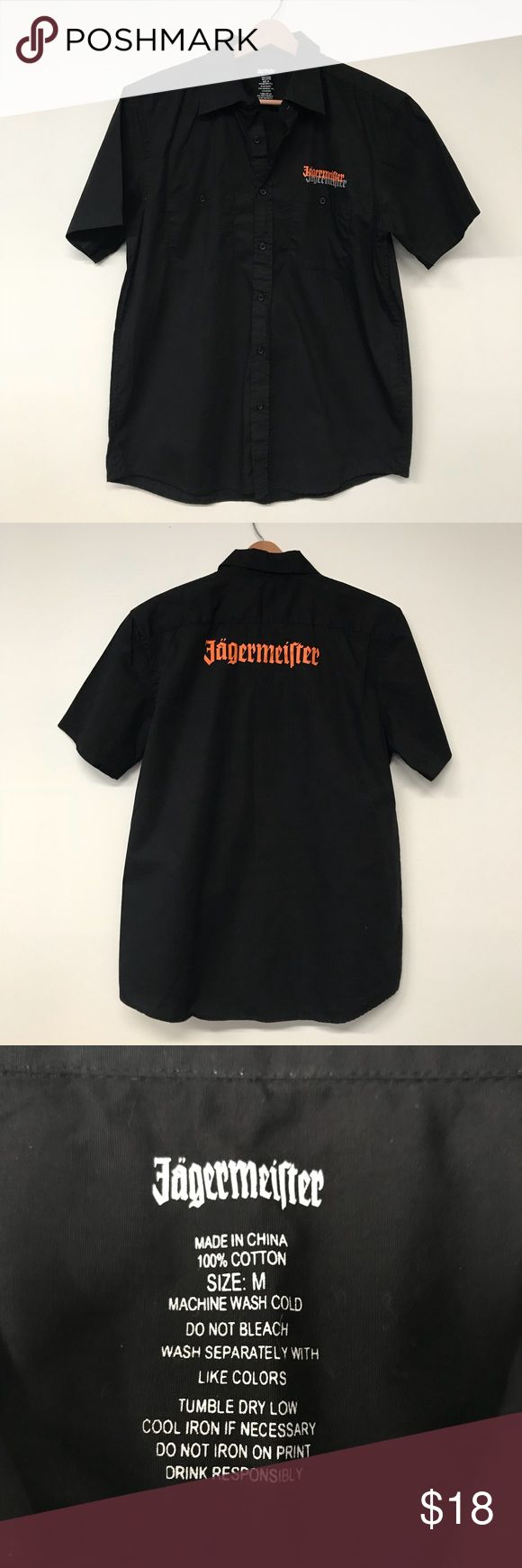 """Men's Jagermeister Button Down Shirt Button down shirt with the Jagermeister logo on the front and back. Two pockets on the front. In perfect like new condition. Men's size medium. Smoke and pet free home. Measurements taken laid flat. 21.5"""" armpit to armpit. 30"""" long shoulder to hem. Jagermeister Shirts Casual Button Down Shirts"""