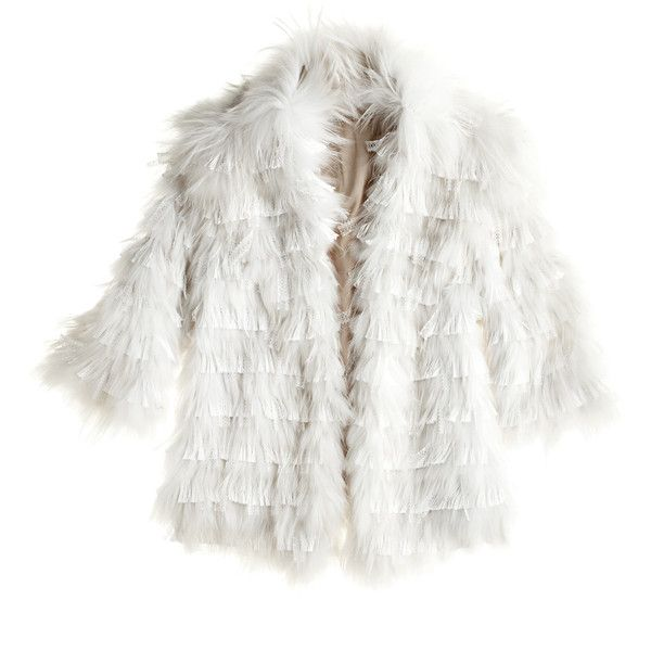 CALYPSO St. Barth Leora Fur Jacket (€4.405) ❤ liked on Polyvore featuring outerwear, jackets, coats, fur, calypso st. barth, embellished jacket, white jacket, white fur jacket and fur jacket
