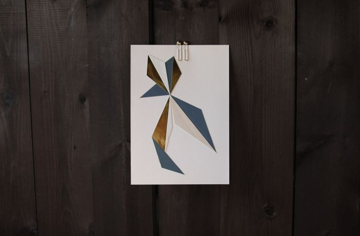 Geometric paper cut formation by Laura Faurschou. A4 in brass, nude, blue, wood