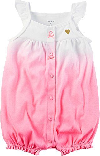 Carter's Baby Girls' Snap-Up Cotton Romper (3 Months Pink Ombre)