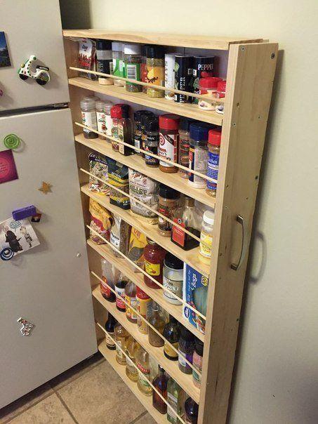 Скрытая полка за холодильником.